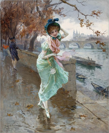 Daniel Hernández Morillo (Peruvian, 1856-1932) - Elegant Lady on the quay of Paris