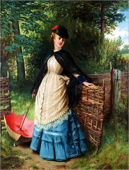 Edward Charles Barnes (British, 1830-1882) - A lady at a gate