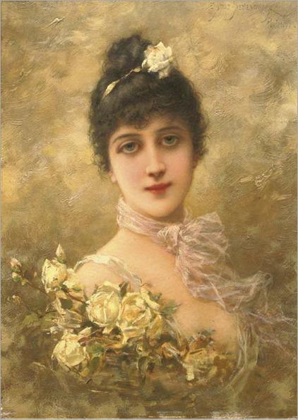 Emile-Eisman-Semenowsky-Elégante-aux-roses-jaunes