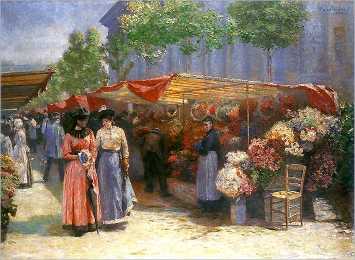 Flower Market at the Church of St. Madeleine in Paris - Jozef Pankiewicz-1890