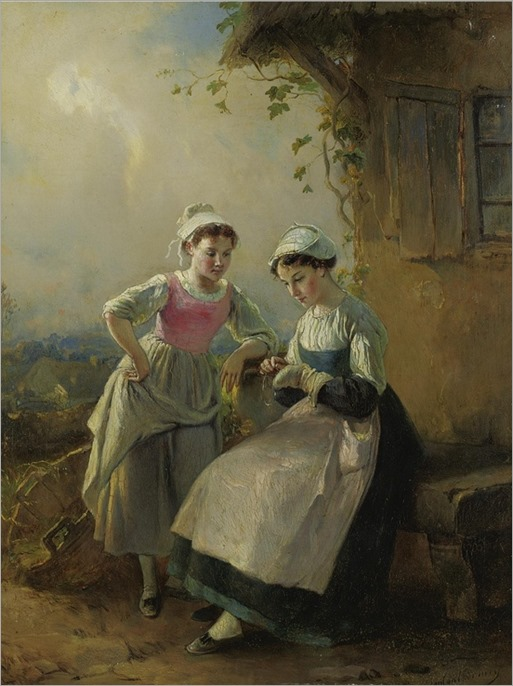 François-Louis Lanfant de Metz 1814-1892 -MENDING LITTLE SOCKS - by Sothebys