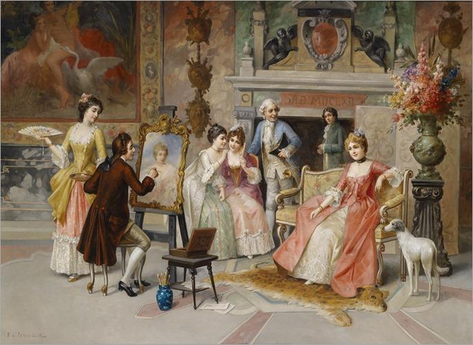 Franz von Persoglia, Portrait painter at work, (not dated)