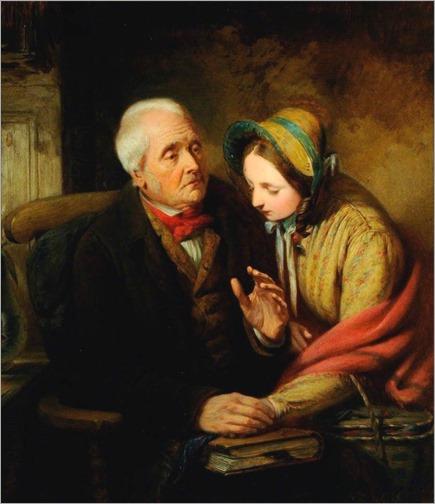 George Bernard O'Neill (irish painter, 1827-1917)- Grandfather's Advice
