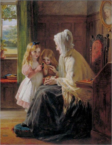 George Bernard O'Neill (irish painter, 1827-1917)- Gran's Treasures 1886