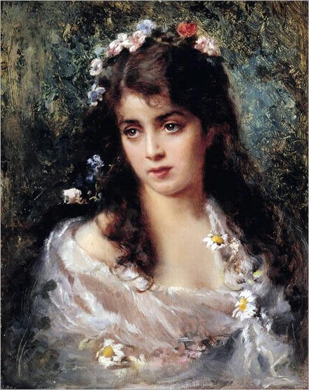 Girl Dressed as Flora - Konstantin E. Makovsky (russian painter)