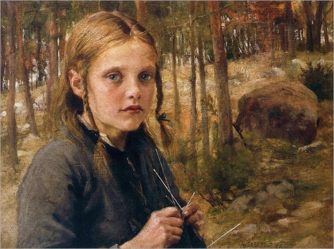 Girl Knitting Socks -1886- Albert Edelfelt (finnish painter)