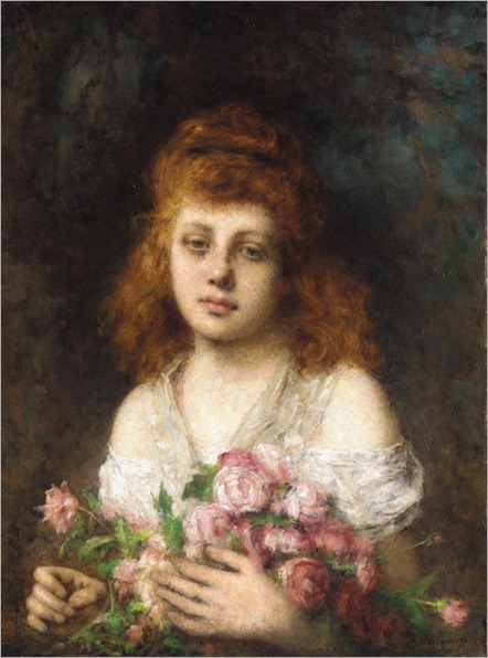 Harlamoff_Alexej_Auburn_haired_Beauty_with_Bouquet_of_Roses