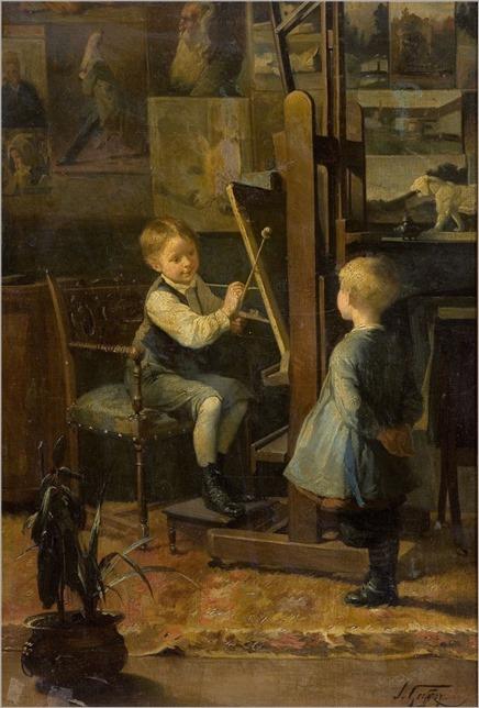 in the artist´s studio-Henry Jules Jean Geoffroy