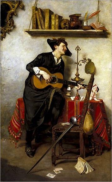 Nicolas Mejia y Marquez - Estudiante tocando la guitarra (Laboremus). 1886