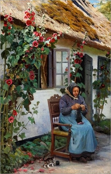Peder Mørk Mønsted (1859-1941) -Granny knitting a sock, 1926