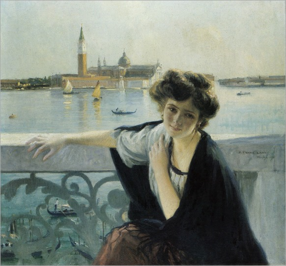 Pierre Franc Lamy (French, 1855 - 1919)-Venice, young girl on balcony overlooking San Giorgio maggiore