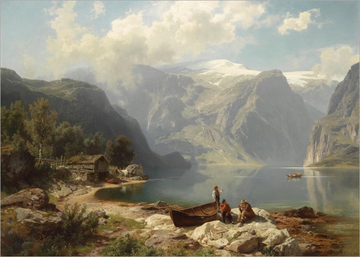 Sunny Day on a Norwegian Fjord - August Wilhelm Leu (german painter-19th century)