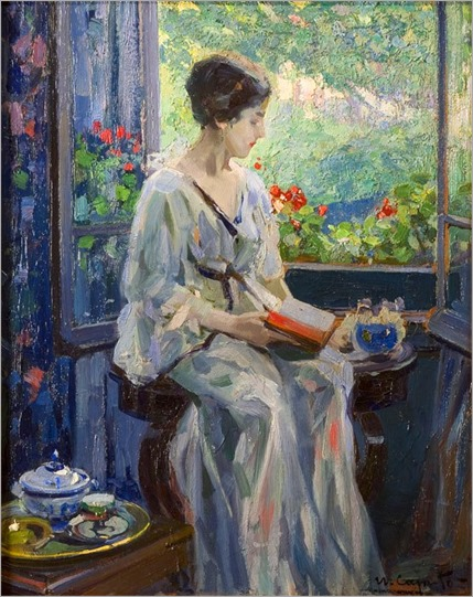 A Woman Reading Seated By an Open Window. Ulisse Caputo (Italian, 1872-1948)