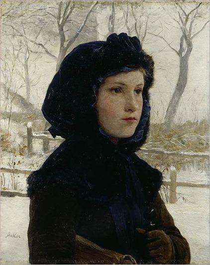 Albert Anker-Brustbild eines Mädchens in schwarzer Kapuze