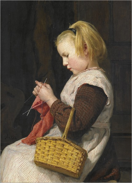 Albert Anker - Knitting Girl with basket (1897)