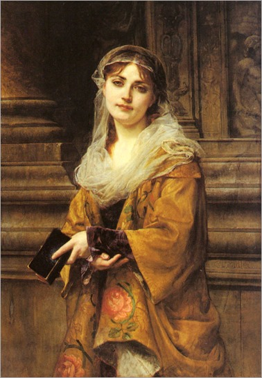 CharlesLouisLucienMuller_a_young_woman_outside_a_church