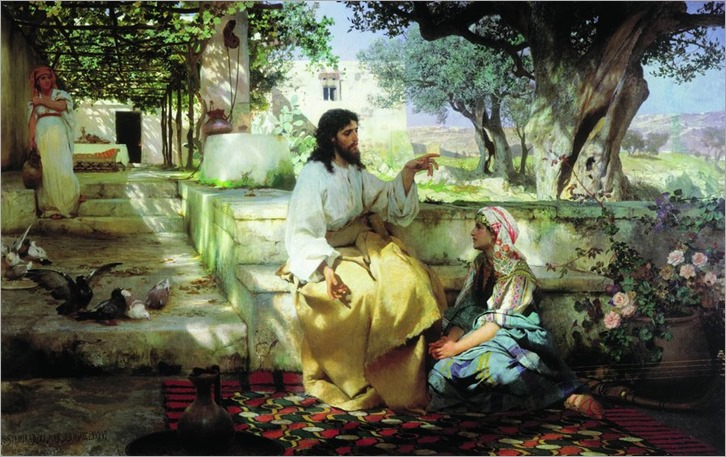 Christ in the house of Martha and Mary-Hendryk Siemiradzki - 1886