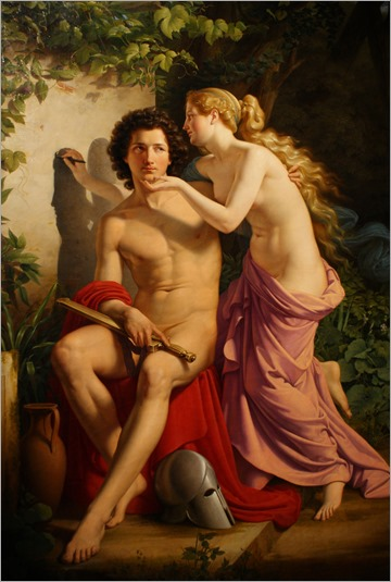 Die Erfindung der Malerei (1832)-The invention of painting by Wilhelm Eduard Daege (German, 1805-1883)- Alte Nationalgalerie, Berlin