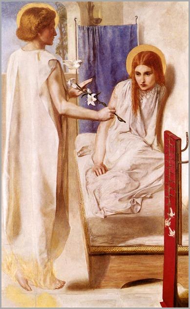 Ecce Ancilla Domini! (The Annunciation), 1849-50. Dante Gabriel Rossetti (English, Pre-Raphaelite, 1828‑1882)