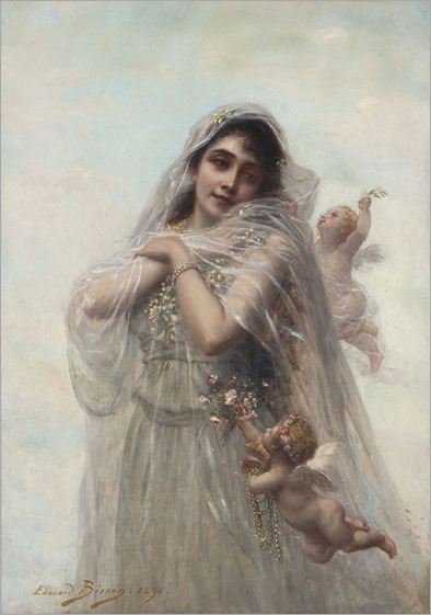 Edouard Bisson (1856 - 1939) - Portrait of a young lady with cherubs, 1891