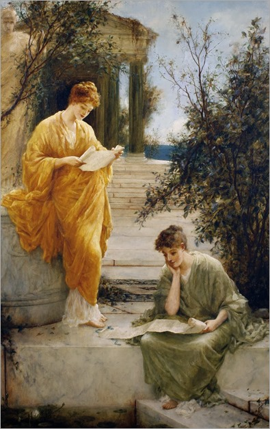Henry Thomas Schaefer (c.1854-1915)- Classical Women Reading by a Temple