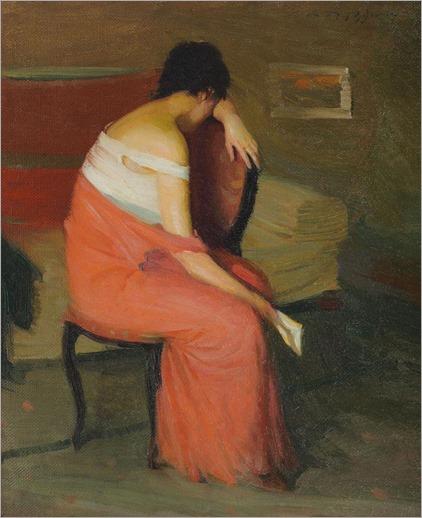 Intimitate - Leon Biju (romanian painter-sec 20)