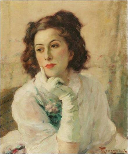 Jeune femme rêveuse - Fernand Toussaint