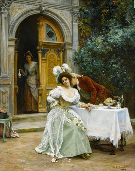 Jules Girardet (French, 1856-1938)-A garden flirtation