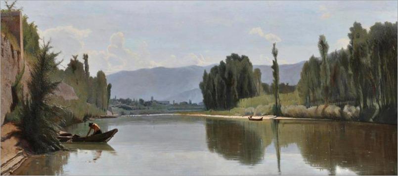 L´Arno a Varlungo, 1868-Odoardo Borrani (italian painter)
