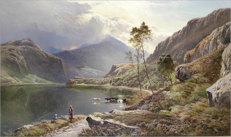 Llyn-y-Ddinas, North Wales - Sidney Richard Percy (english painter)-1873