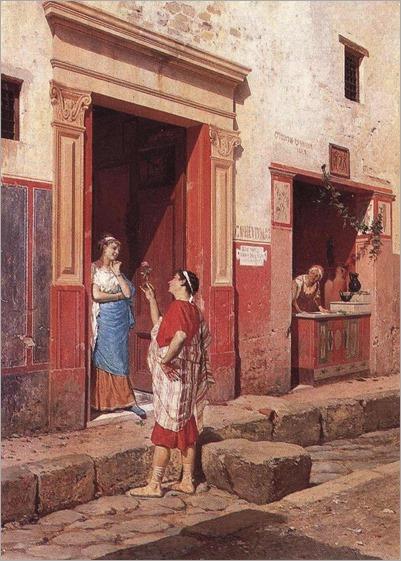 Luigi Bazzani (1836-1927) - Corteggiamento a Pompei