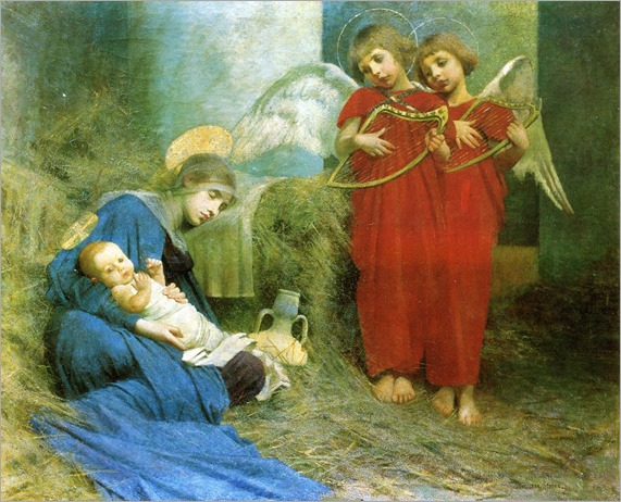 Marianne Stokes (1855-1927)- Angels Entertaining the  Holy Child 1893