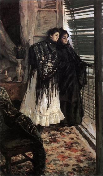 On the Balcony, Spanish Women Leonora and Ampara -1897-8_ Konstantin Korovin (russian painter)