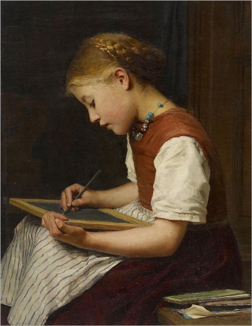 Schoolgirl With Homework. Albert Anker (Swiss, 1831–1910)