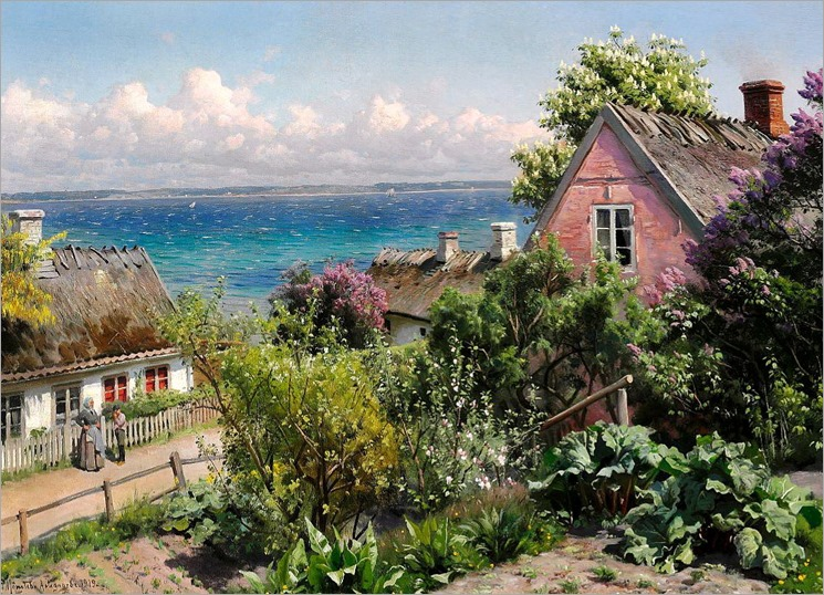 Summer Day in Aalsgaarde - Peder Mork Monsted (danish painter)