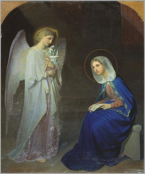 The Annunciation (1852).-by-Yakov Fedorovich Kapkov (Russian, 1816-1854)