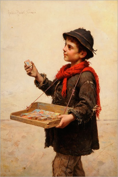 the match seller by Paoletti, Antonio Ermolao (Italian painter 1834-1912)