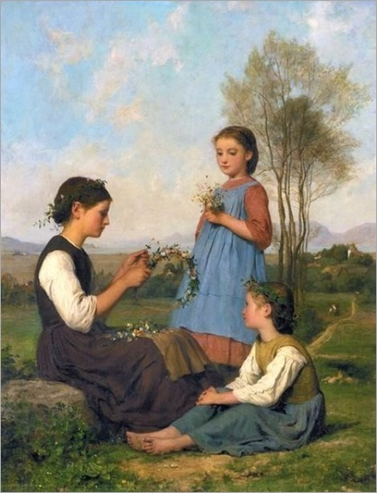threee girls braiding hair - Albert Anker
