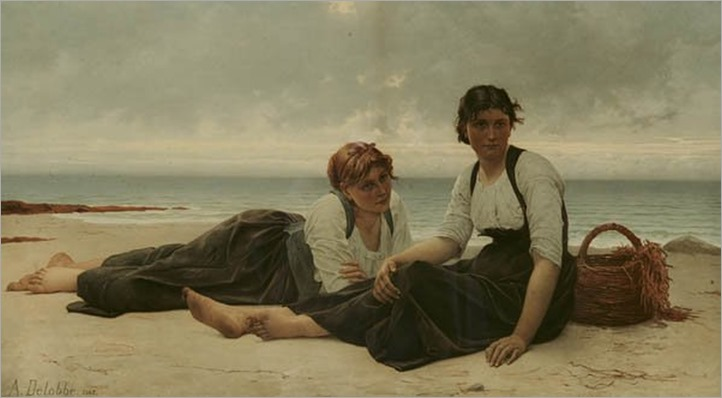 Two Girls Reclining On The Beach-François-Alfred Delobbe