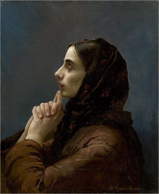 Vasily Surikov (Wassilij Iwanowitsch Surikow-russian painter) - Young Woman at Prayer