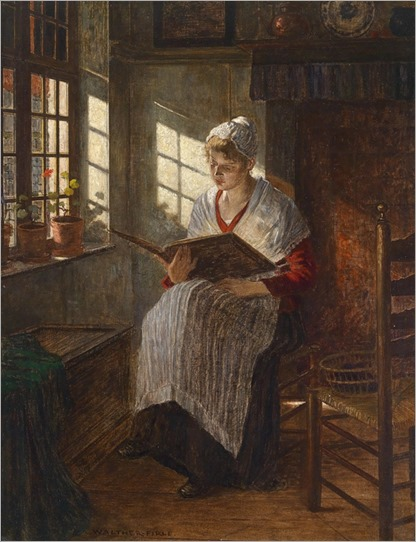 WALTHER FIRLE -( 1859-1929 Munich) Young Woman Reading at the Window