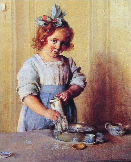 Washing Dishes (also known as Emily and Her Tea Set)-Charles-Courtney-Curran-1907