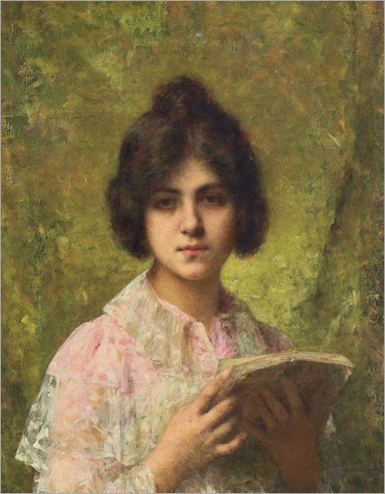 Young Girl Holding a Book-Harlamoff
