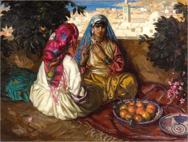 61- Louis Joseph ENDRES (Cincinnati, 1896 - 1989) Sur la terrasse, Tanger