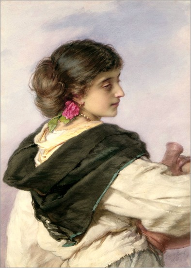 A Young Italian Water Carrier Lost in Thought-Guido Bach (German, 1828 - 1905)