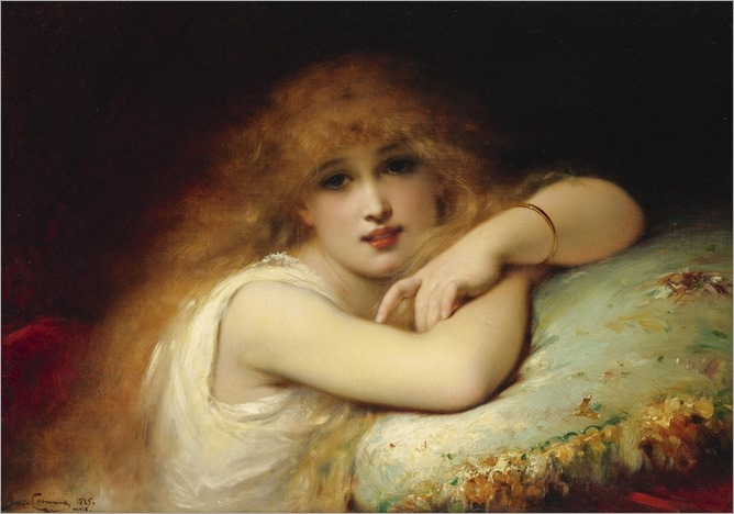 a-young-woman-of-leisure-by-Pierre Olivier Joseph Coomans