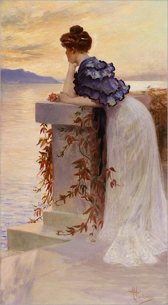 Albert Guillaume (1873-1942)-pensive in front the sea
