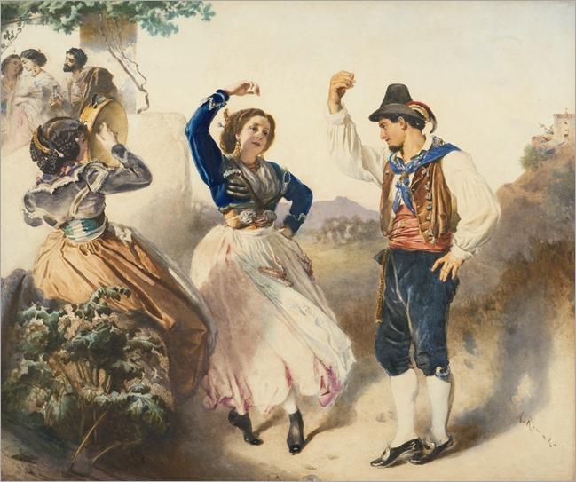 ANTON ROMAKO (austrian, 1832-1889)-Tarantella