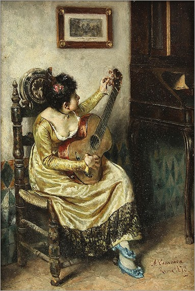 Antonio Casanova y Estorach (Spanish, 1847-1896), Seated Girl with Guitar, 1873