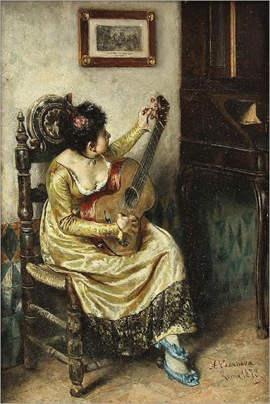 Antonio Casanova y Estorach (Spanish, 1847-1896), Seated Girl with Guitar, 1873